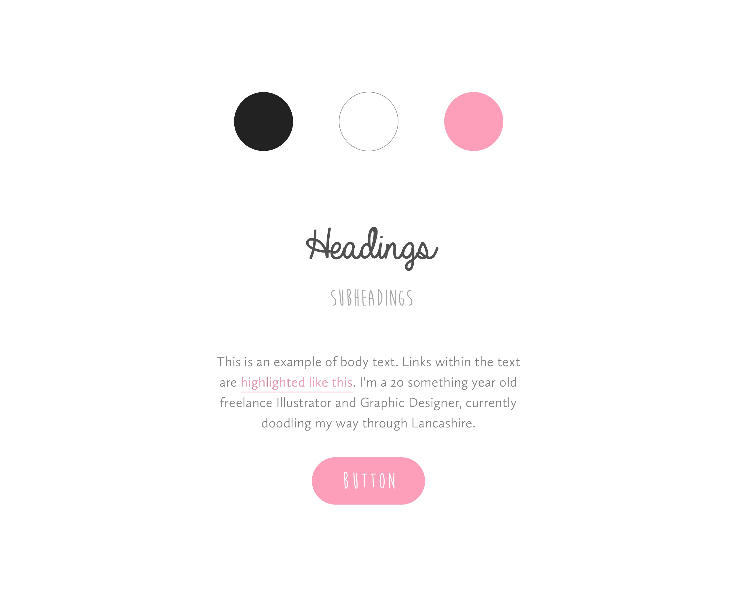 Style guide and website design for Kate Illustrate