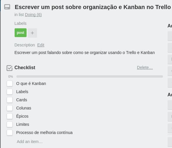 Imagem de um checklist no Trello, uma lista com caixas para selecionar quando finalizados os itens listados