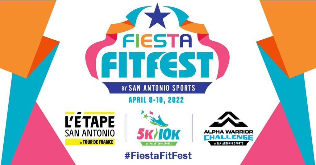 Festive and colorful image of the San Antonio Sports Fiesta FitFest logo, L'Etape San Antonio logo, and Alpha Warrior logo for Fiesta 2022