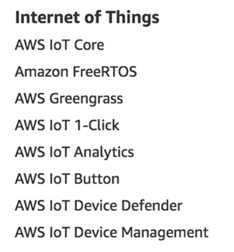 Internet of Things services as listed on aws.amazon.com