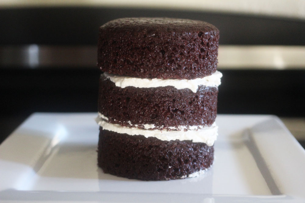 mini stacked vegan chocolate cake