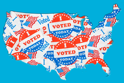United States map covered in I Voted Today stickers