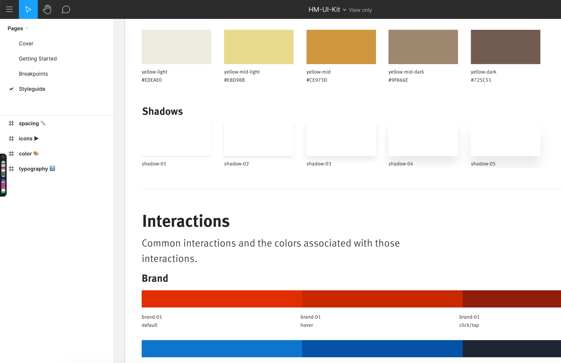 partial screenshot of a style guide showing values for color swatches and box shadow styles