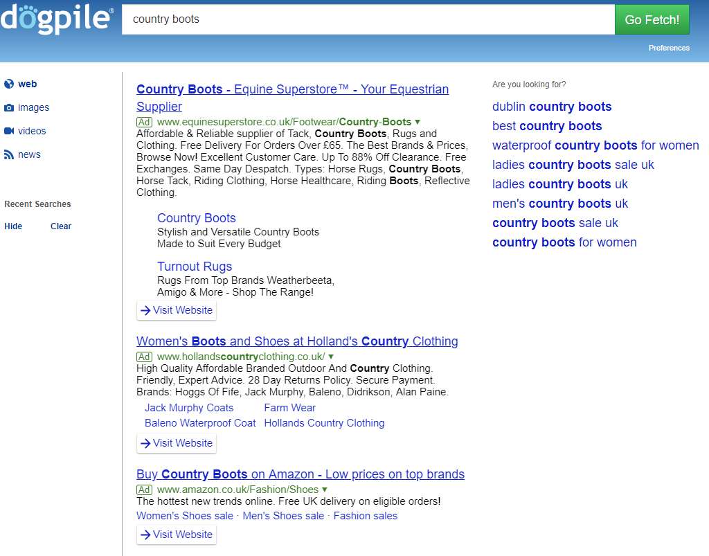Search partners search engine example