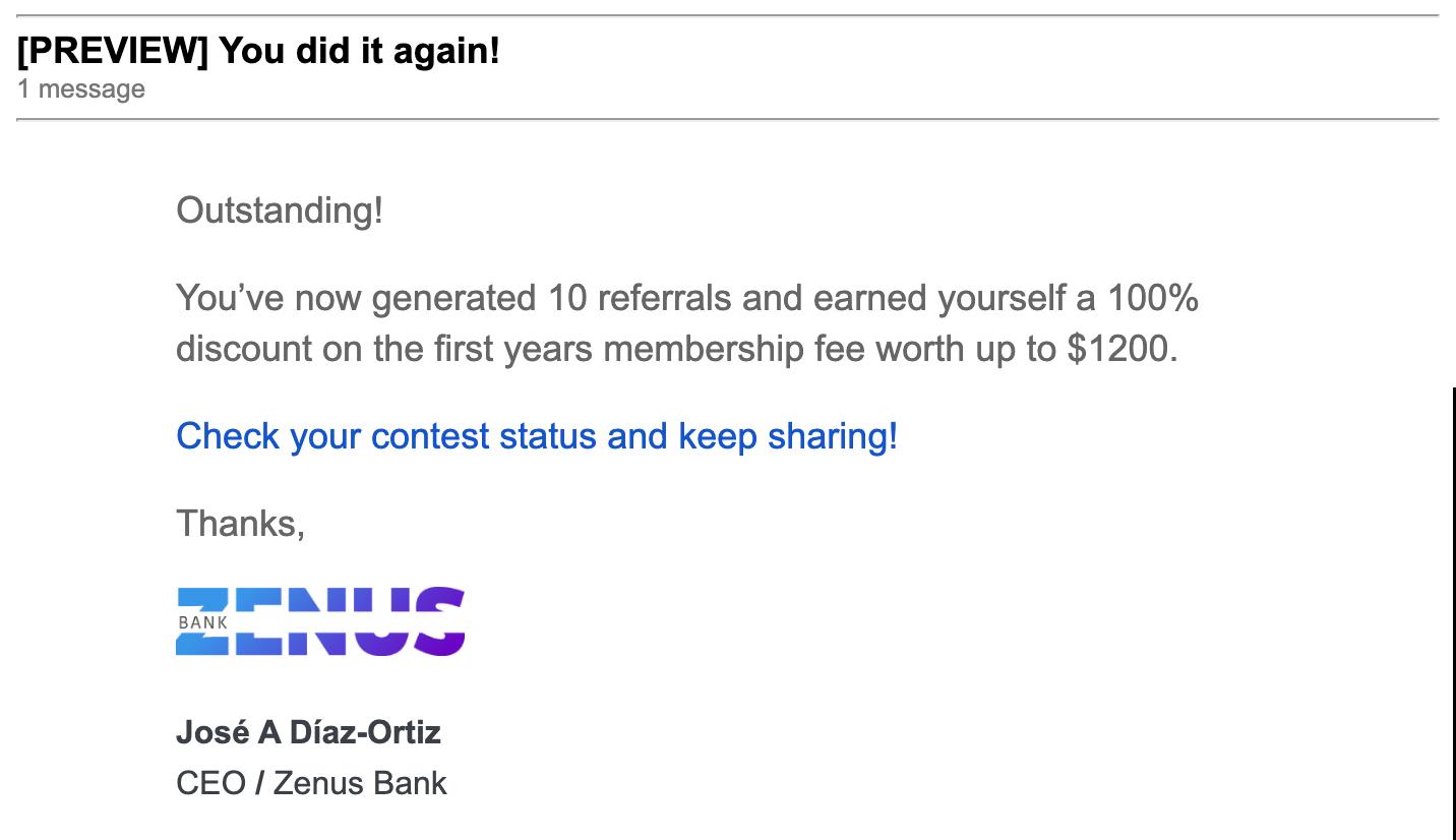Zenus Reward Level Email