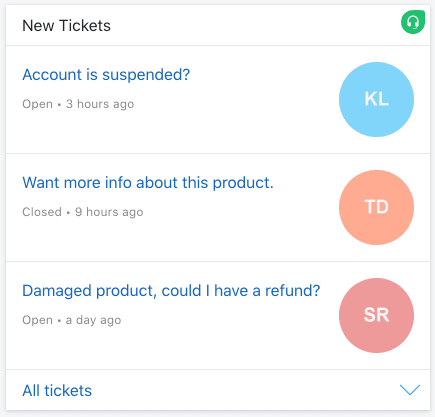 A Card which shows new tickets in your Freshdesk Helpdesk