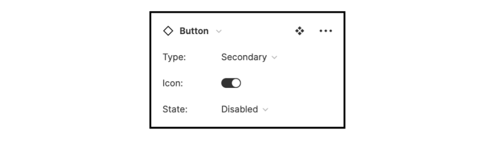 The new instance panel in the Figma sidebar showing variant options.