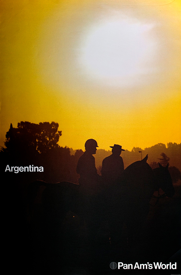A 1971 poster for PanAm showing men on horseback against a sunset. Text reads 'Argentina / PanAms World'.