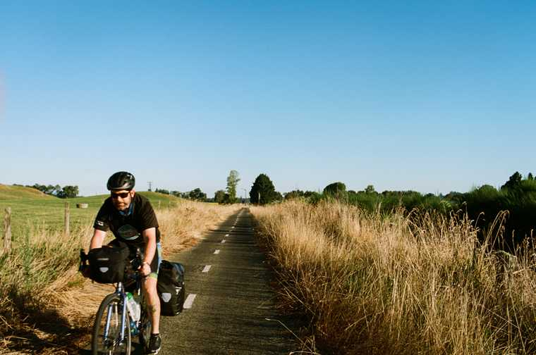 Jeb rides by on a cycle path nestled between rows of tall grass next to a green pasture in rural North Island, New Zealand.