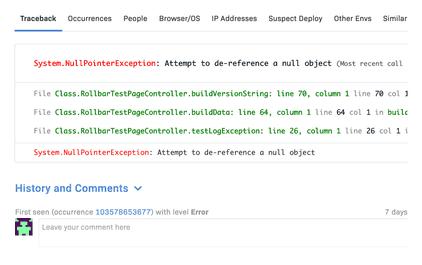 Apex Error details & metadata