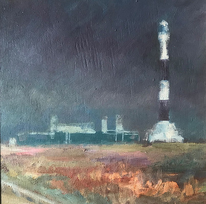 brooding painting of Dungeness lighthouse