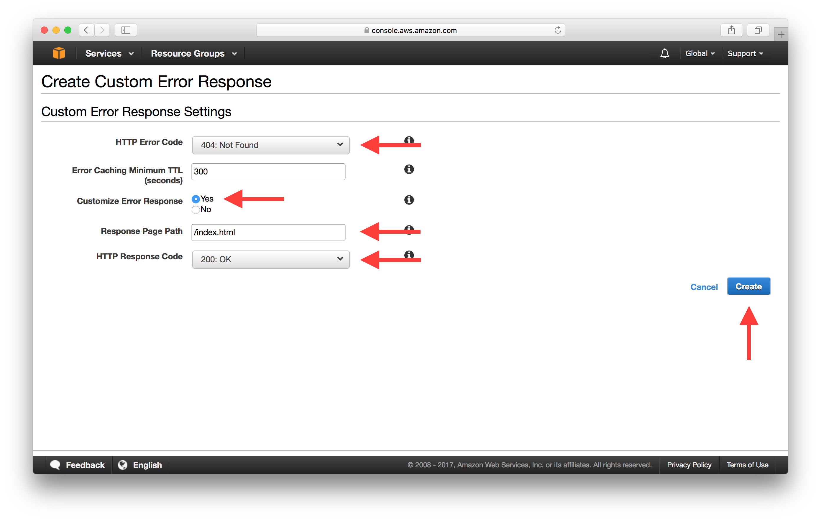 Create Custom Error Response screenshot