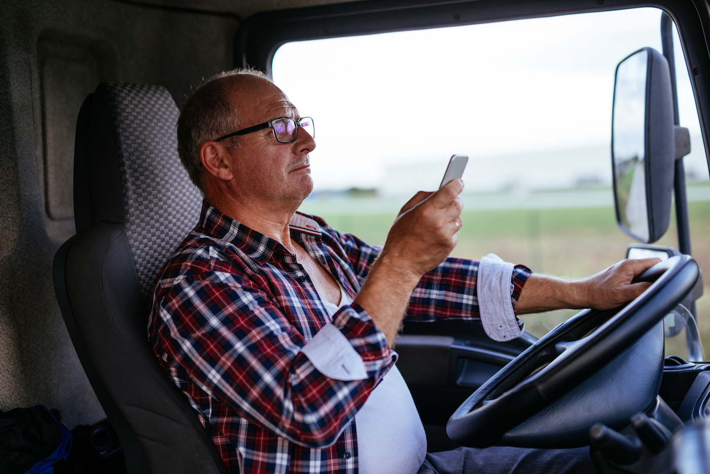 Truck driver on phone