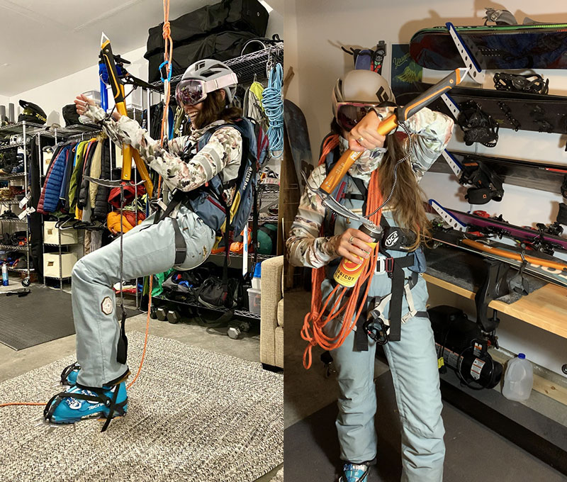 (Left) Trying on gear for late Fall ski trip. (Right) Testing out gear for skiing at Mount Rainier National Forest.