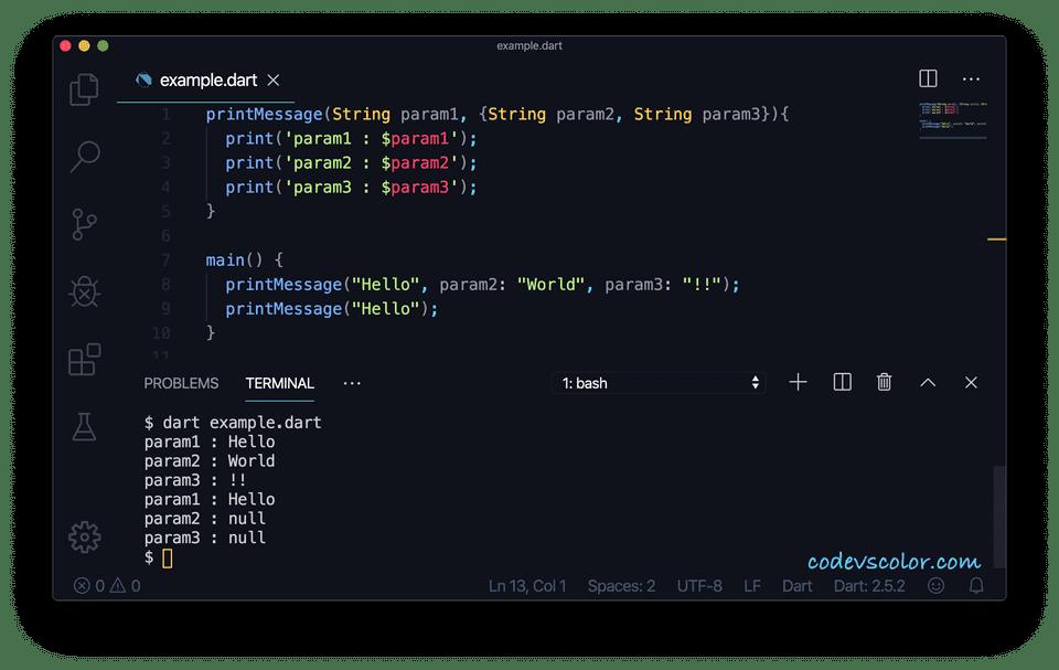 Dart optional named parameters
