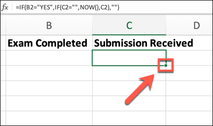 An Excel spreadsheet with the corner of one cell highlighted in order to drag the formula from one cell into following cells.