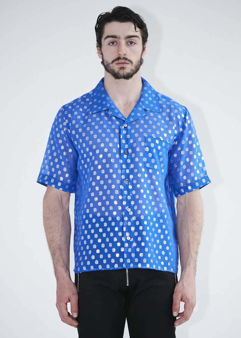 Luka Bowling Shirt Blue with Lurex . GmbH Spring Summer 2020. Available at gmbhgmbh.eu
