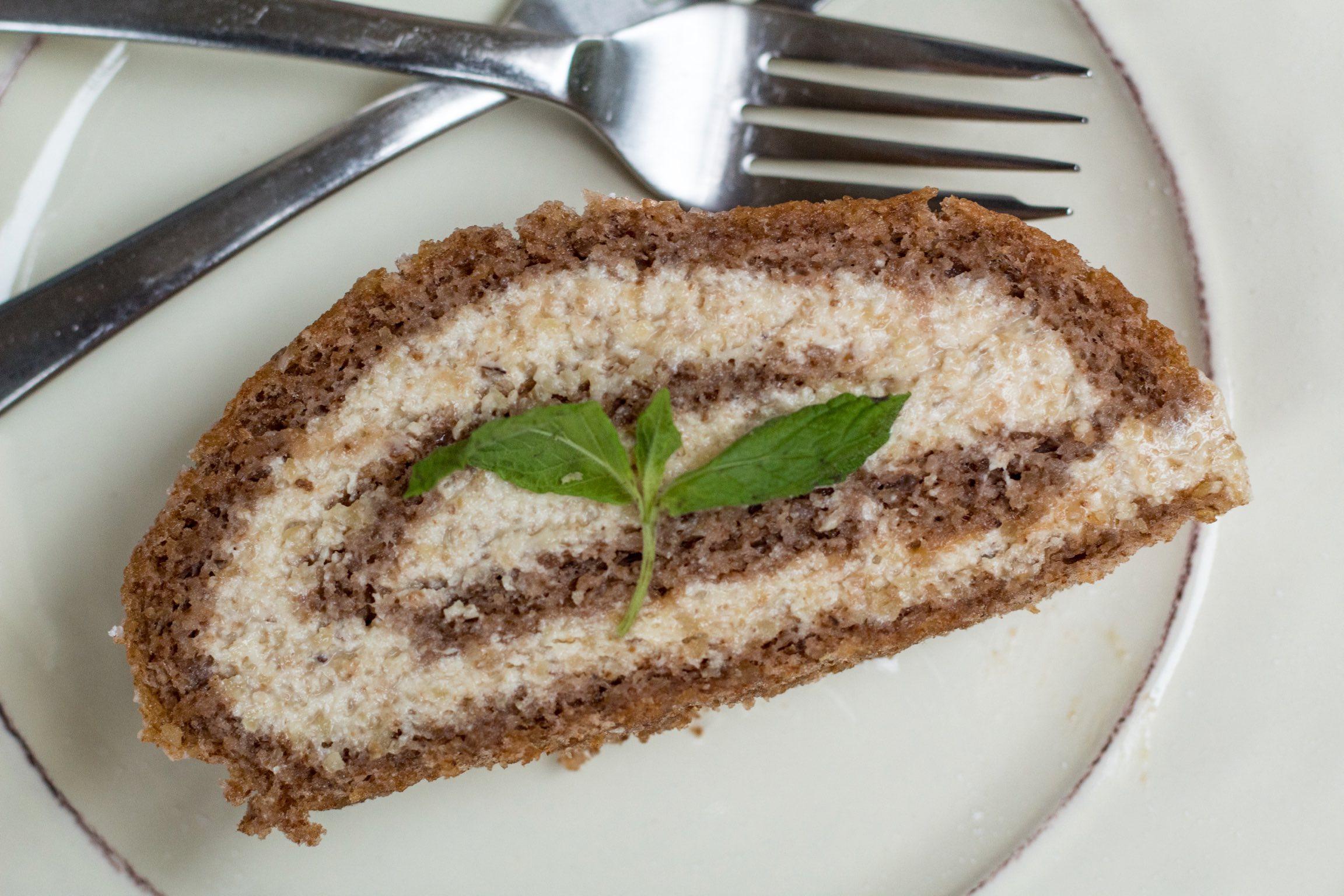 Gluten free walnut roll cake