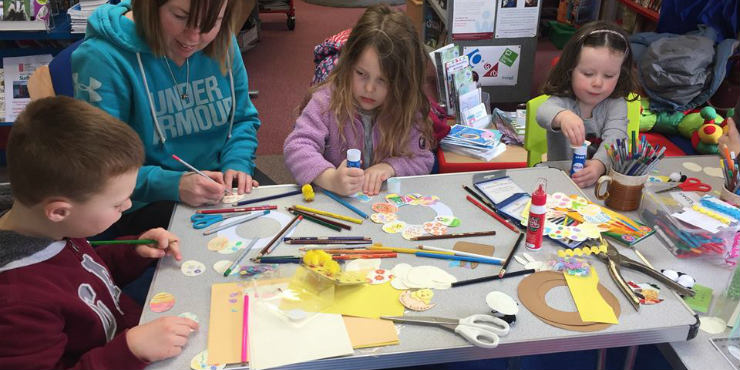 Children making Easter crafts at Long Melford Library