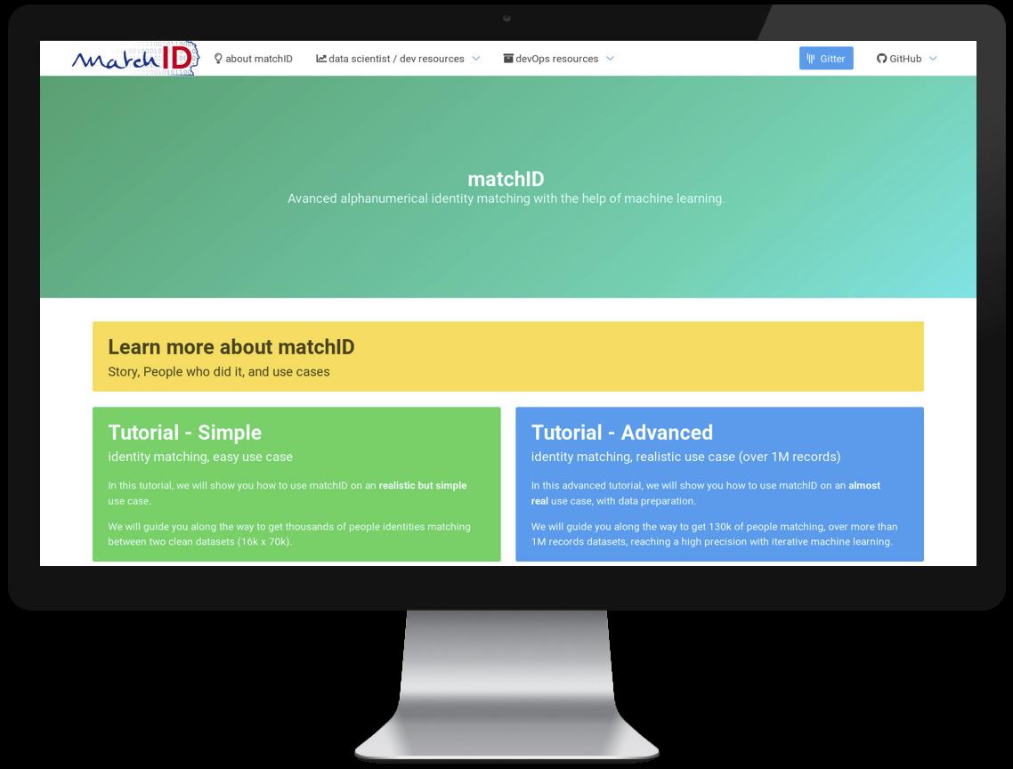 Interface de l'outil développé par le défi MI - matchID