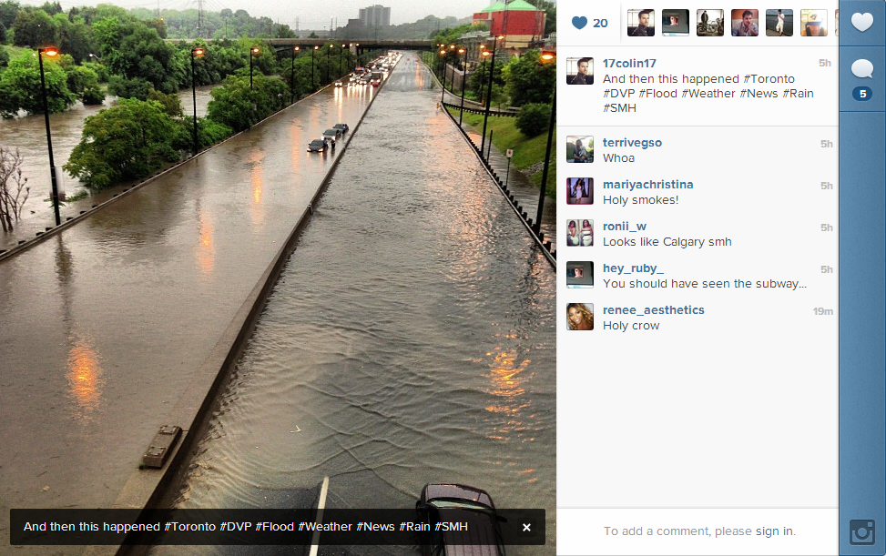 An Instagram photo showing the entire highway under water.