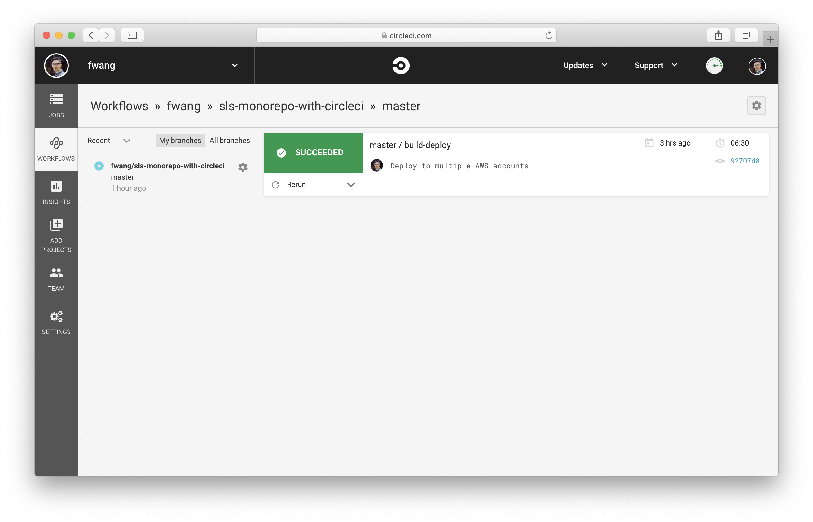Click on Workflows in CircleCI