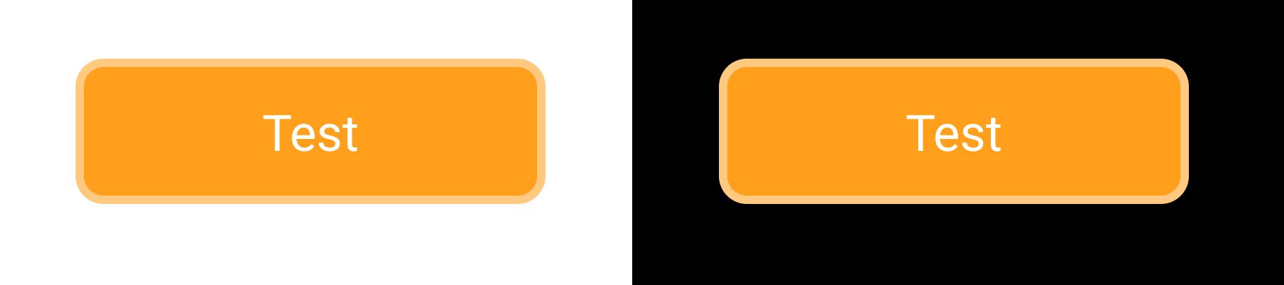a button with a border shown on a white and black background, because opacity is not different the border has the same color