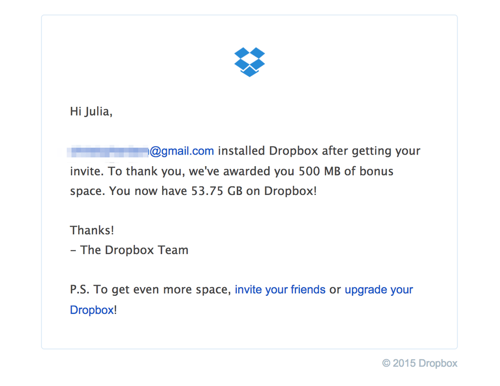 Dropbox Post Purchase Email