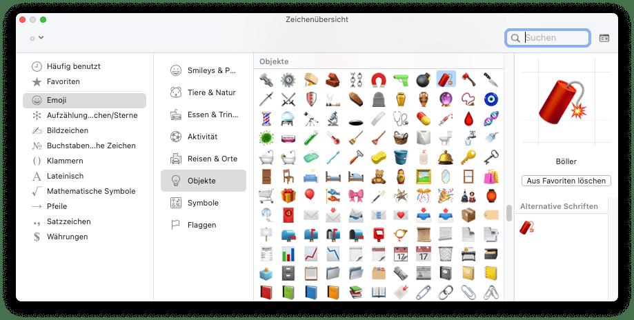 Screenshot of macOS window showing a selection of emojis