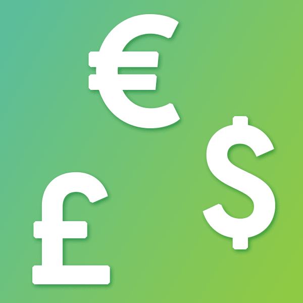Euro, pound and dollar - displayed currencies symbol