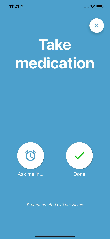 App screenshot showing a prompt alert