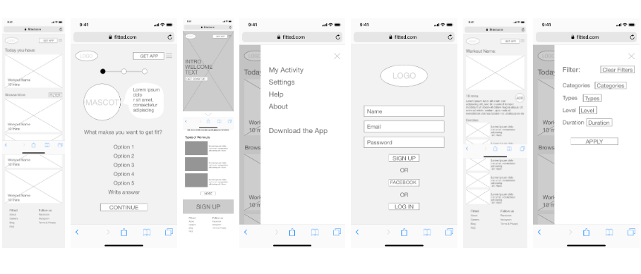 Wireframes created in Sketch for the Fitted app, by Michelle Lock