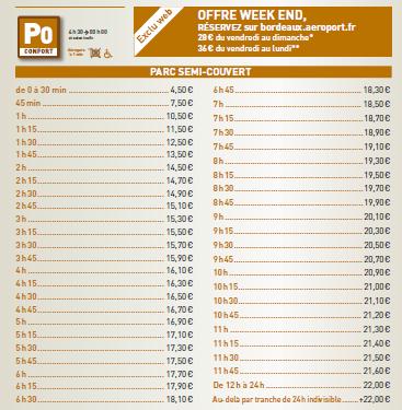 prix parking aeroport Bordeaux P0