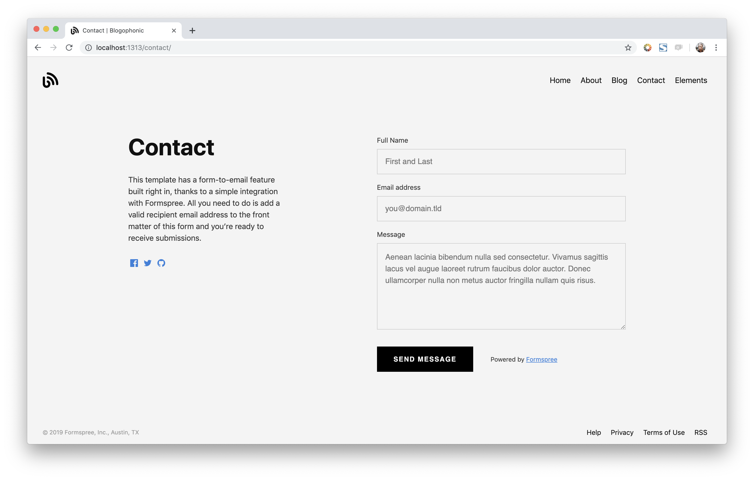 Contact Form Split Right Layout Screenshot