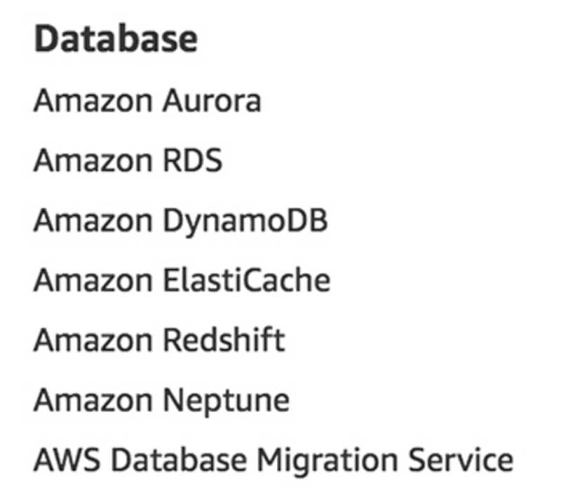 Database services as listed on aws.amazon.com