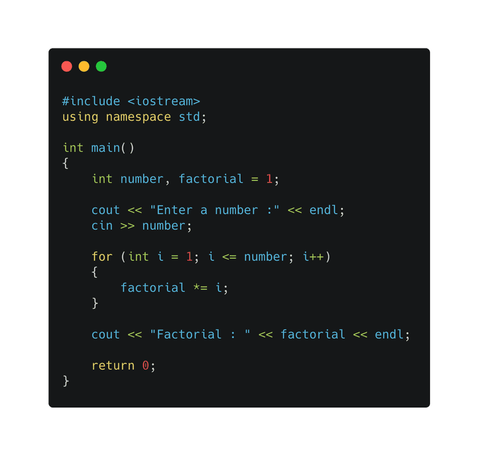 C++ factorial using for loop