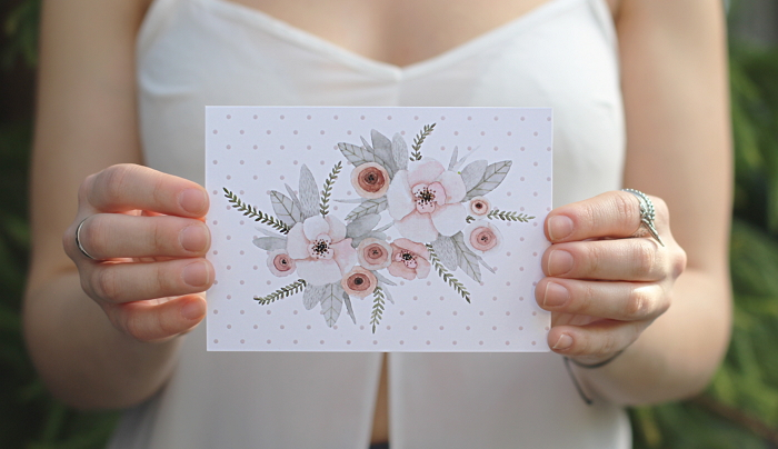 postcard with tender floral composition in pastel colors item thumbnail