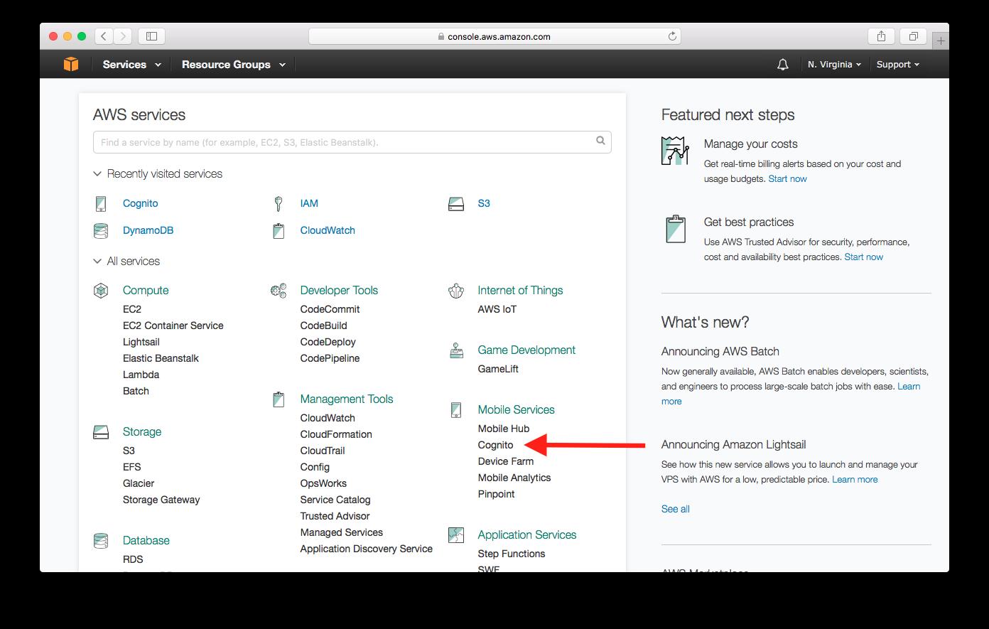 Select Amazon Cognito Service screenshot
