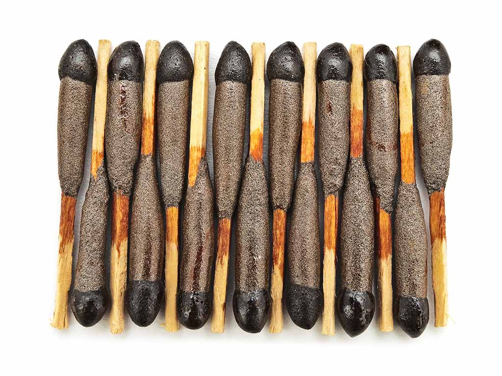 Old matches: Small wooden sticks with much sulfur on it
