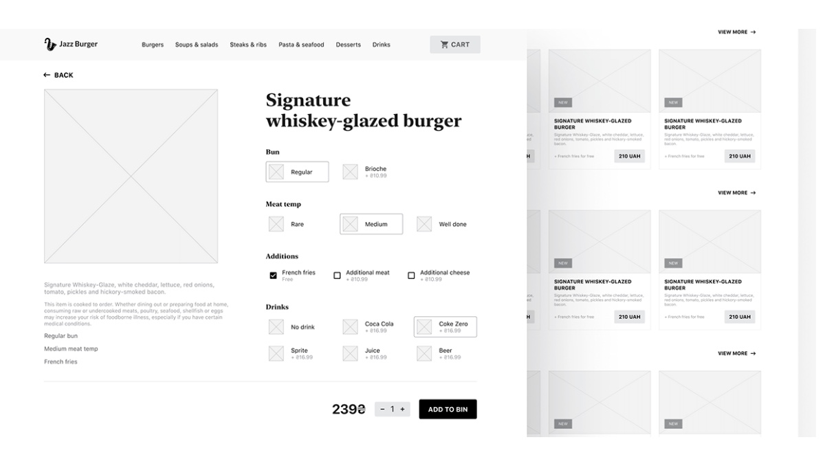 Wireframes for the JazzBurger website, by Roman Vasilovski