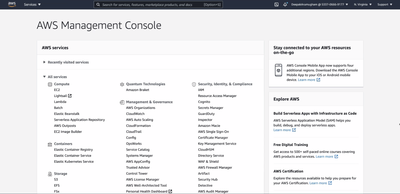 The AWS console.