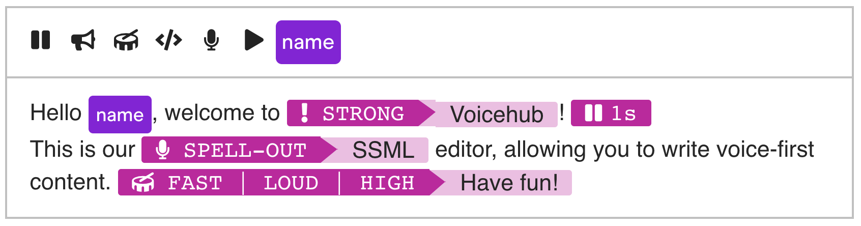 Voicehub SSML Editor Features
