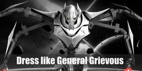 General Grievous red skin isn't usually visible through his beige-colored armor and his legs are mechanical all the way. He has four arms, all of which can wield a lightsaber.