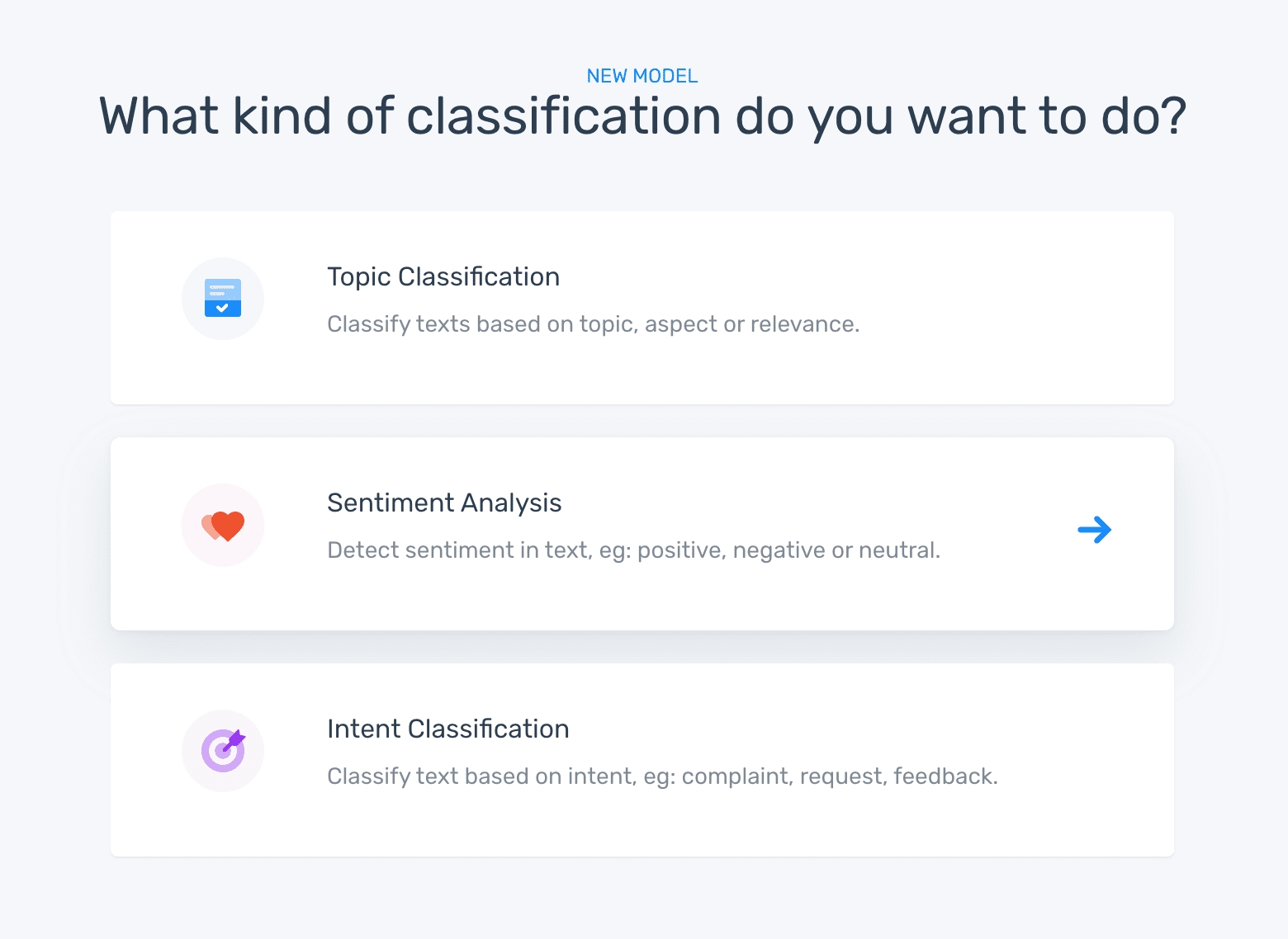 Step two in MonkeyLearn's model creation app: Choose a classifer