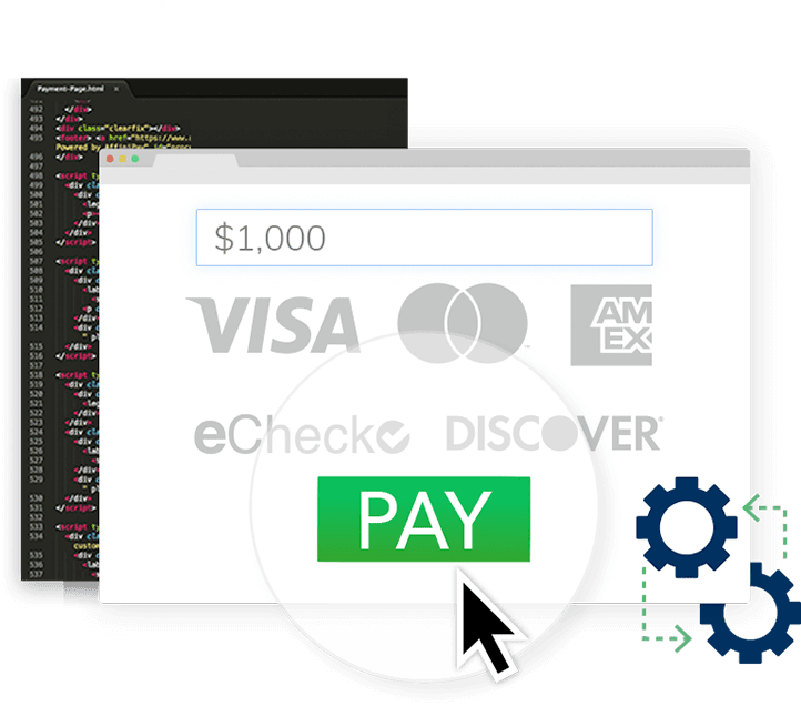 Visa, MasterCard, Discover Card, American Express and E-check