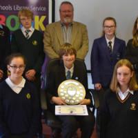 Schoolchildren with an award