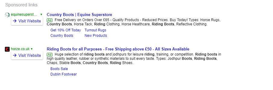 Sponsored links example