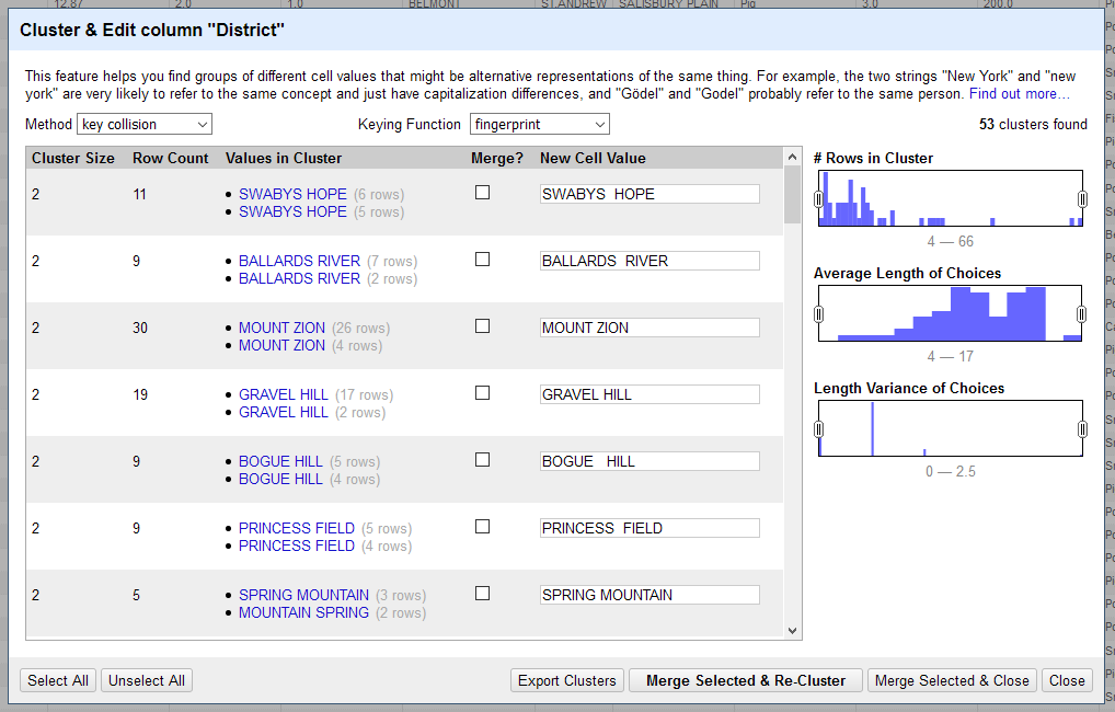 A screenshot of the Clustering window.