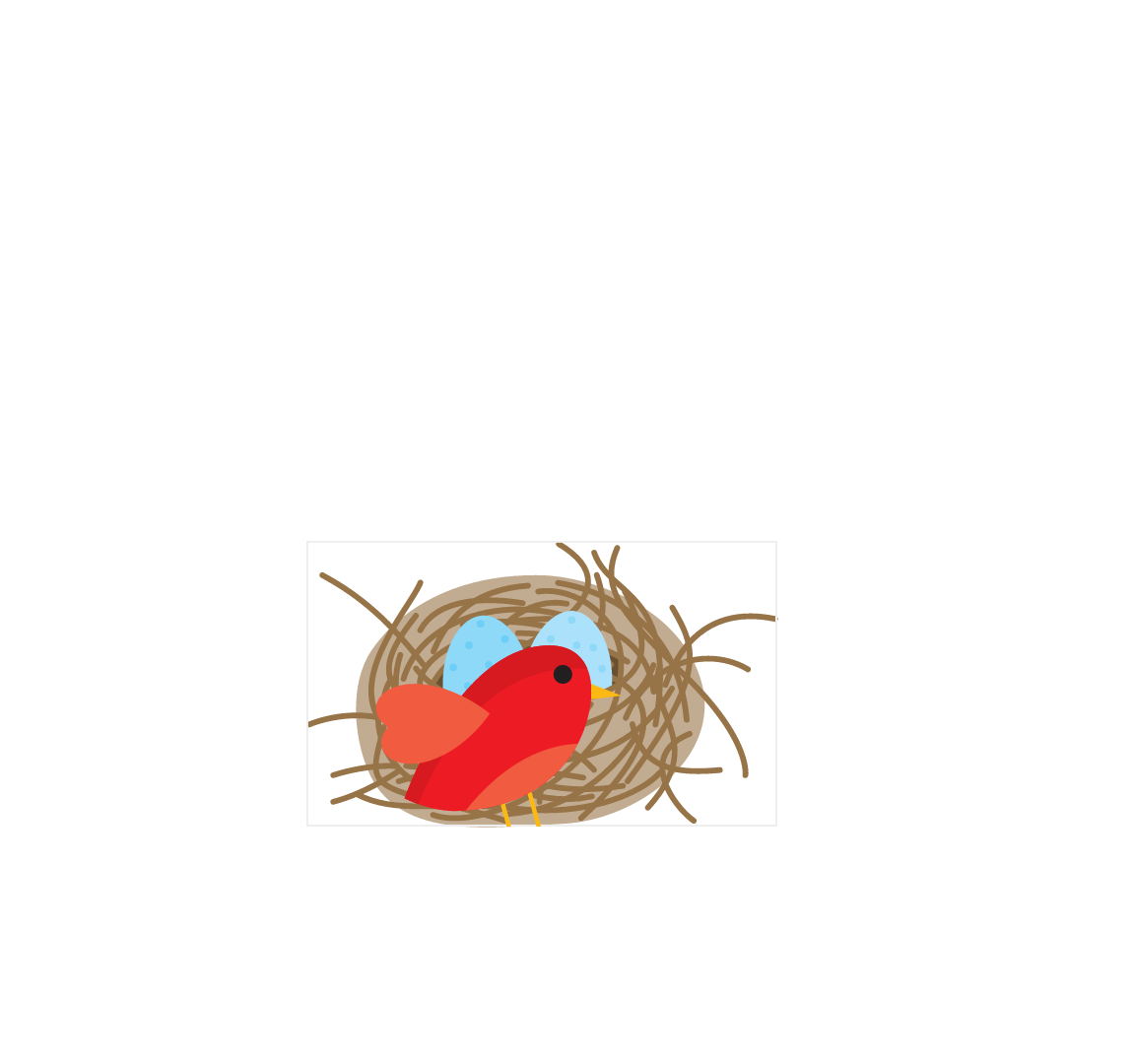 A visual respresentation of the nested svg element positioned on top of (or around) the nest, with the bird positioned inside of it.