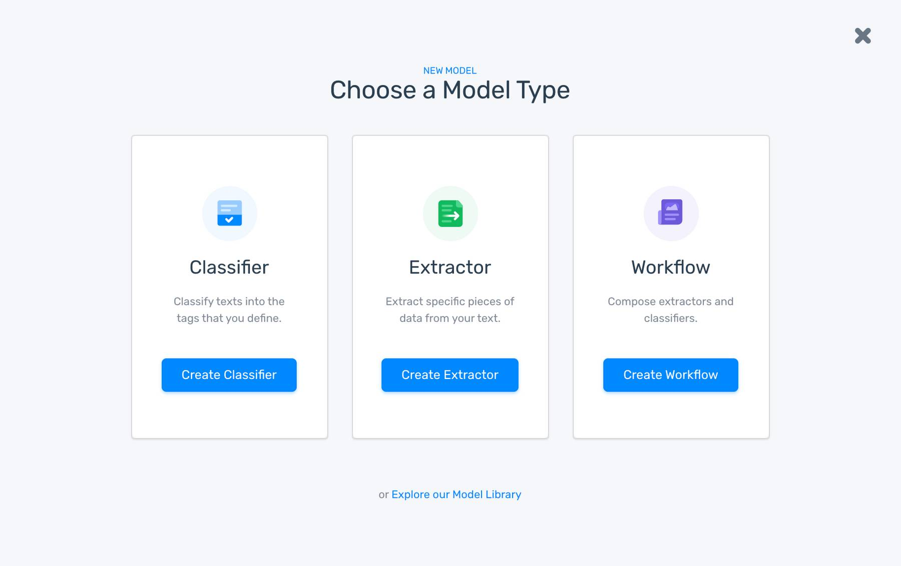 The option to select model in MonkeyLearn's wizard creator.